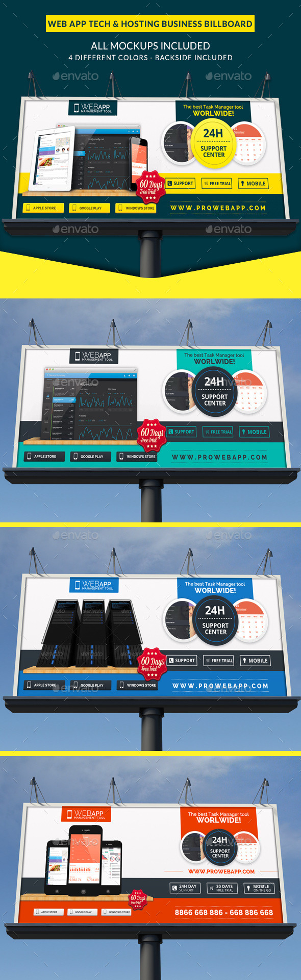 GraphicRiver Web App Tech & Hosting Business Signage Billboard 10579091