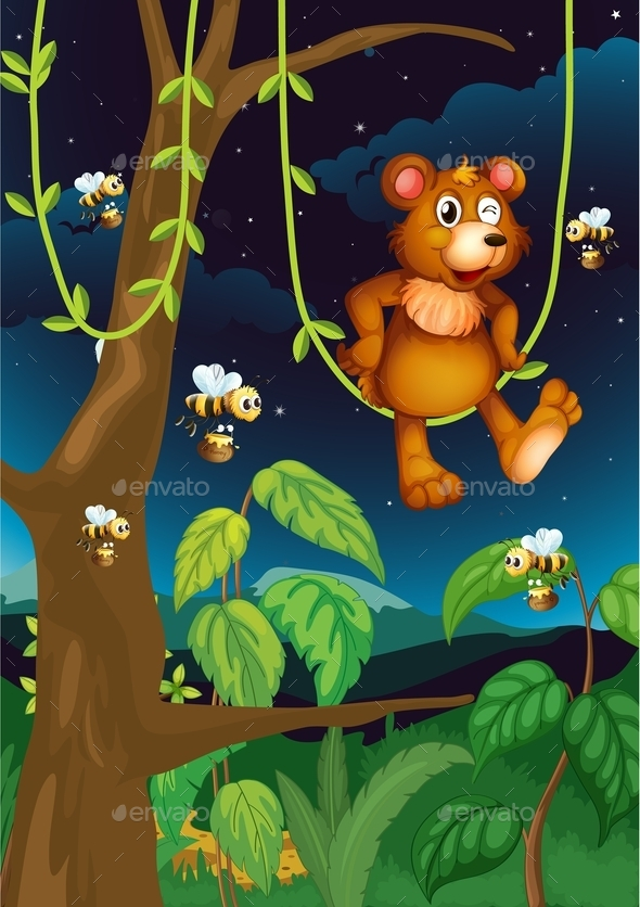 GraphicRiver Bear in Forest 10695939