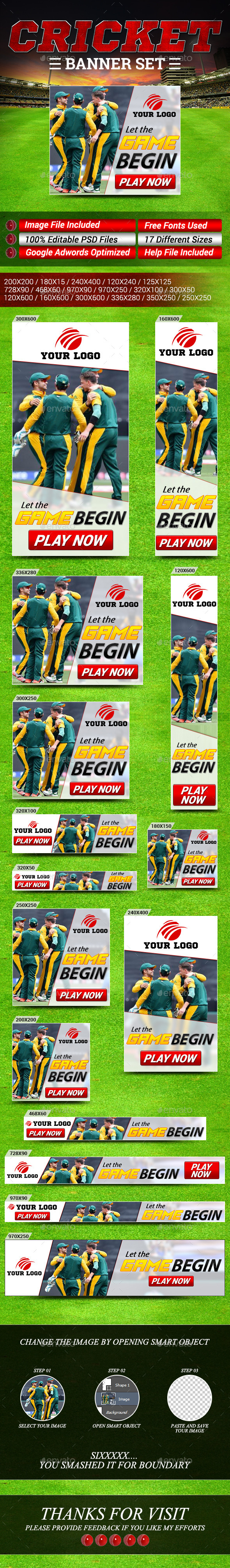 GraphicRiver Cricket and Sports Banner Set 10696002