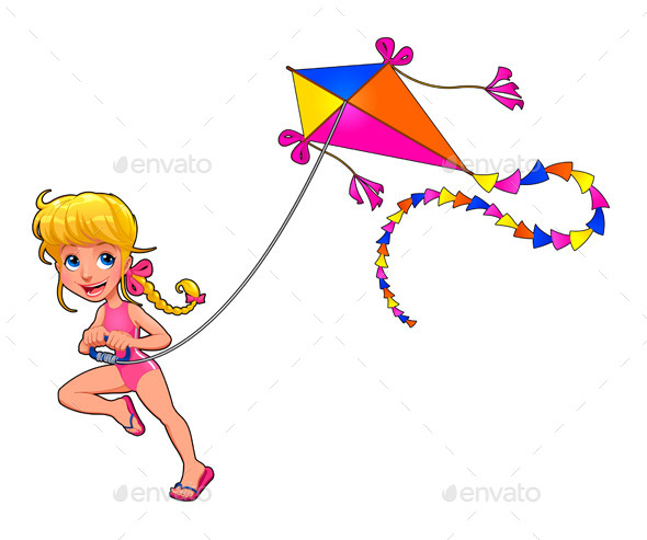 GraphicRiver Girl Playing with a Kite 10696074