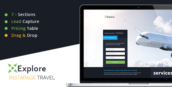 ThemeForest Explore Travel Instapage Template 10626248