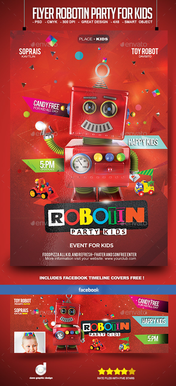 GraphicRiver Flyer Robotin Party for Kids 10696099