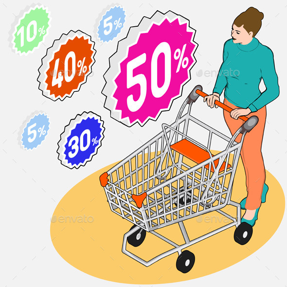 GraphicRiver Isometric Grocery Shopping 10696650