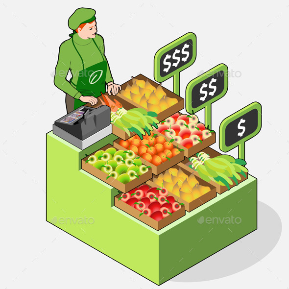 GraphicRiver Isometric Greengrocer Shop 10696655