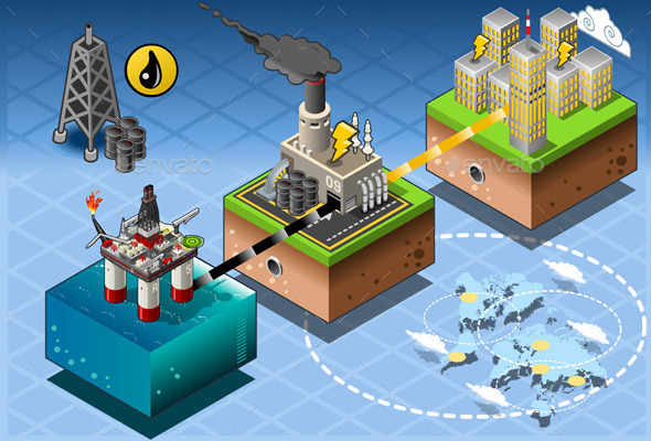 GraphicRiver Isometric Infographic Petroleum Rig Energy Diagram 10696728