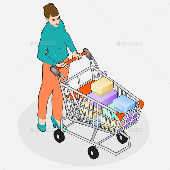 GraphicRiver Isometric Walking Woman with Empty Shopping Cart 10696735