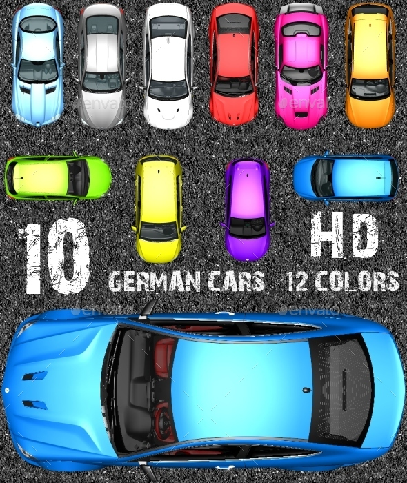 GraphicRiver Top Down Racing Game Kit German Sports Cars 10696763