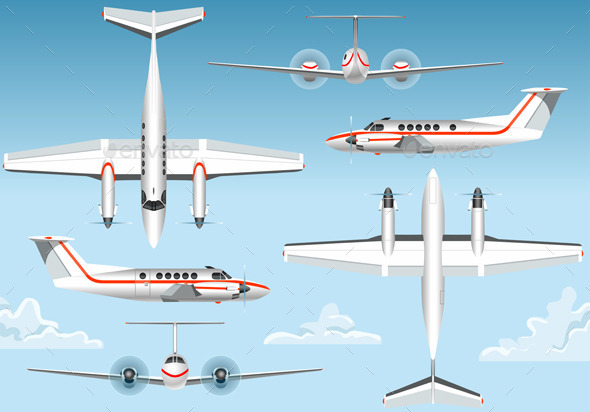 GraphicRiver Orthogonal Views of a Flying Airplane 10696841