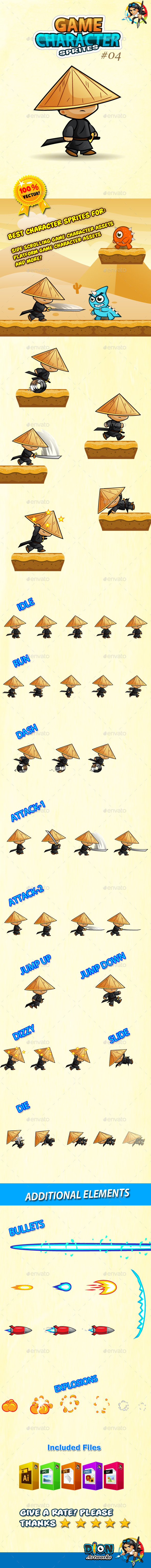 GraphicRiver Samurai Character Sprites O4 10696994