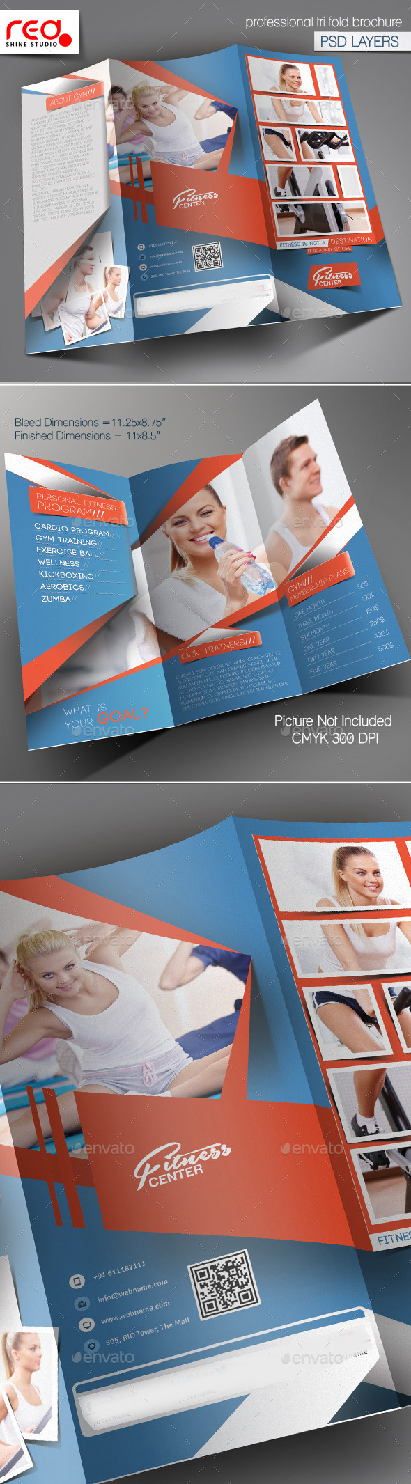 GraphicRiver Fitness Club Trifold Brochure Template 10611887