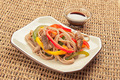 noodle with meat and vegetables on a plate - PhotoDune Item for Sale