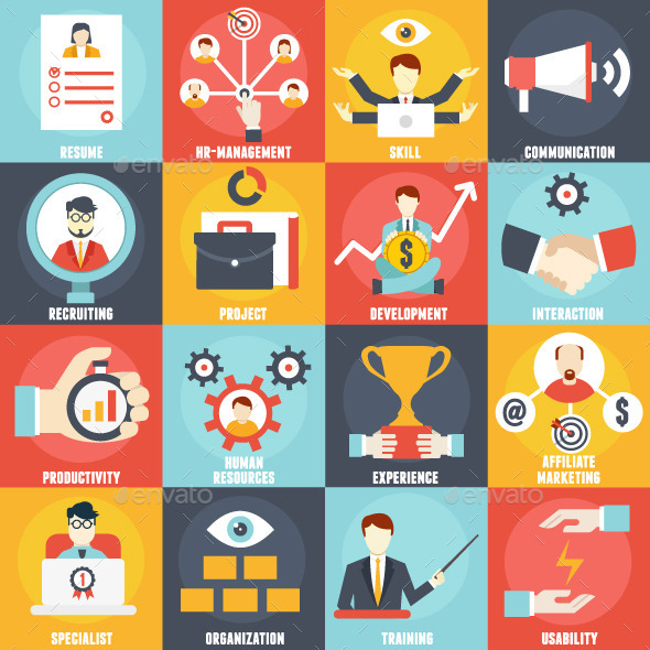 GraphicRiver Set of Human Resources Management Icons 10697707