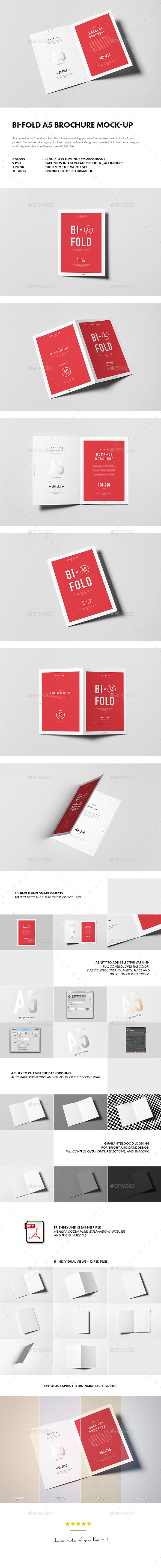 GraphicRiver Bi-Fold A5 Brochure Leaflet Mock-up 10697780