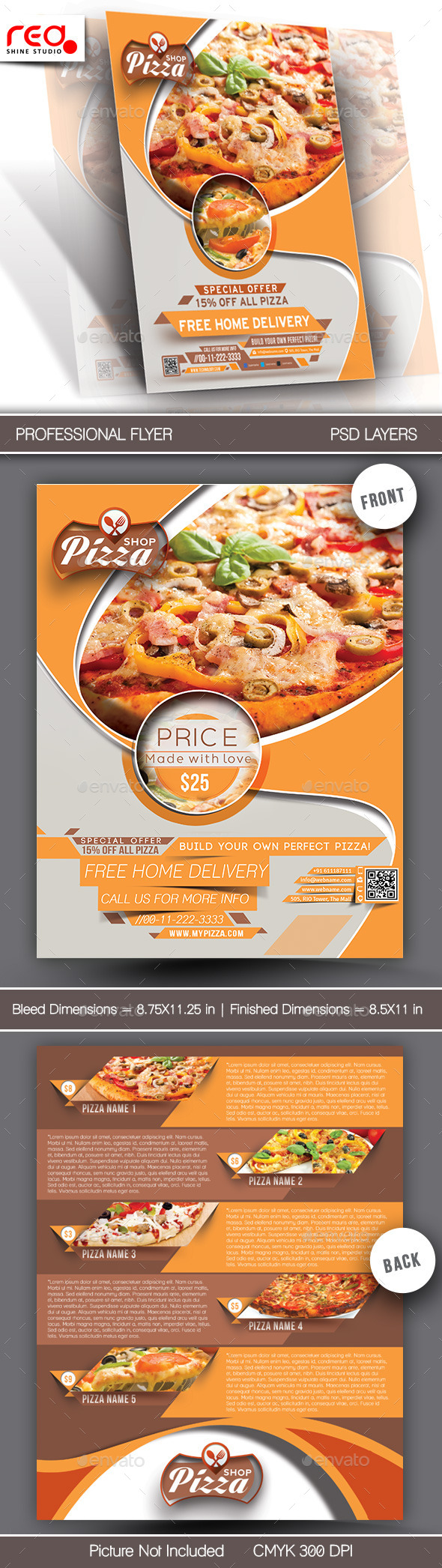 GraphicRiver Pizza Shop Flyer & Menu Card Template 7162163