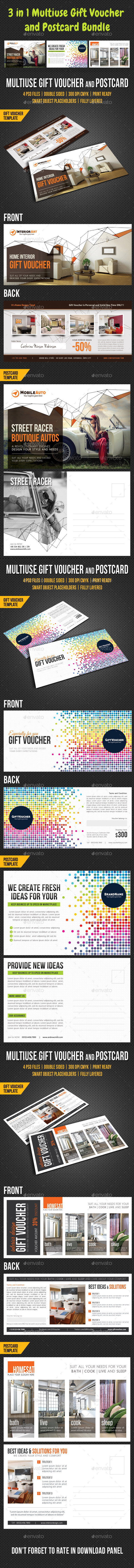 GraphicRiver 3 in 1 Multiuse Gift Voucher and Postcard Bundle 10698718