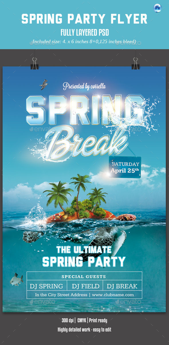 GraphicRiver Spring Party Flyer 10698723