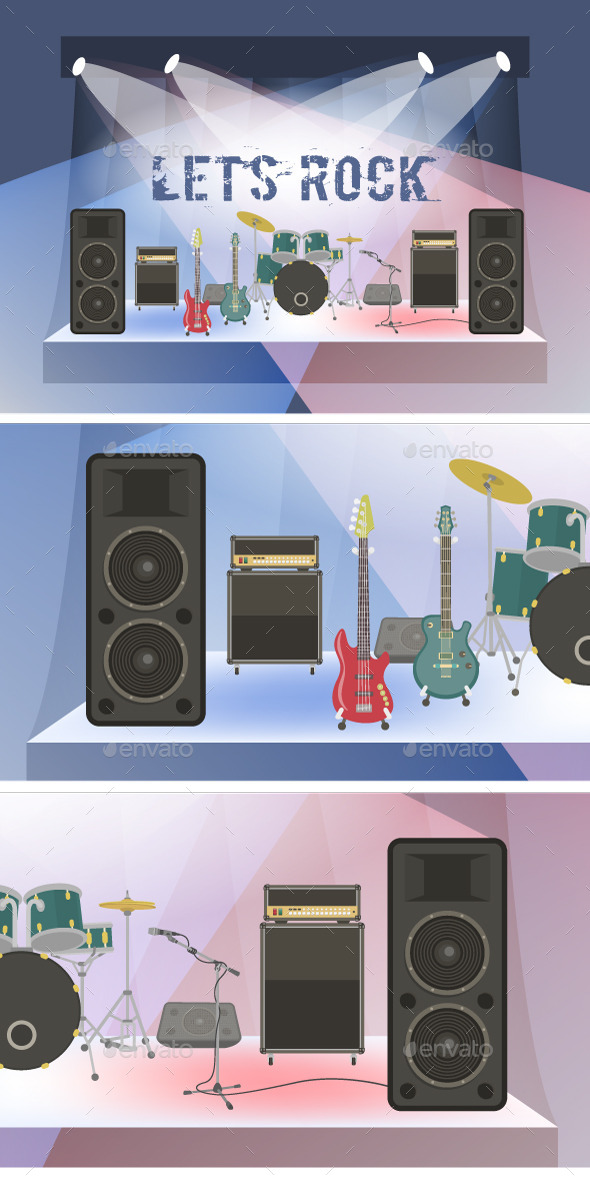 GraphicRiver Rock Concert Equipment on Stage 10698944