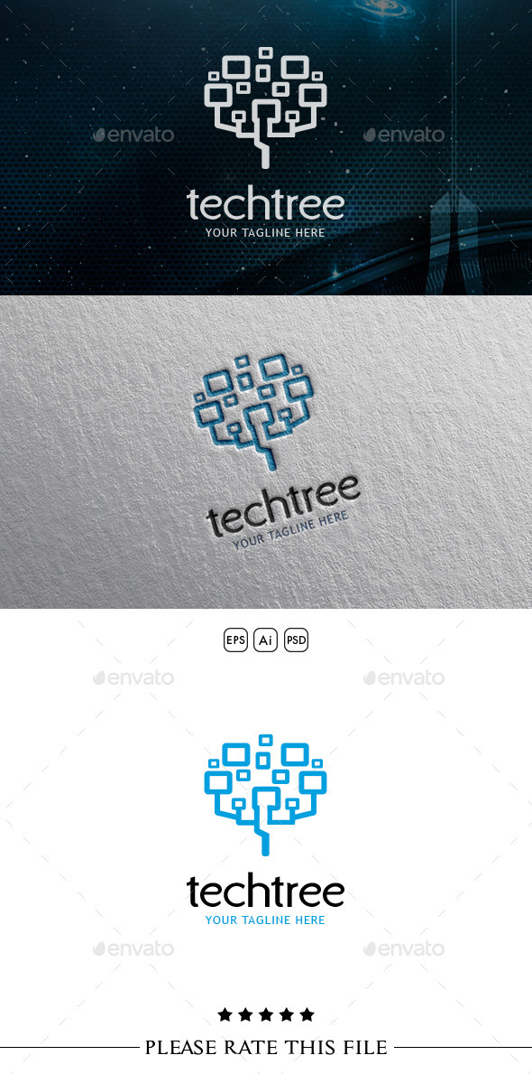 GraphicRiver Technology Tree Logo 10699332