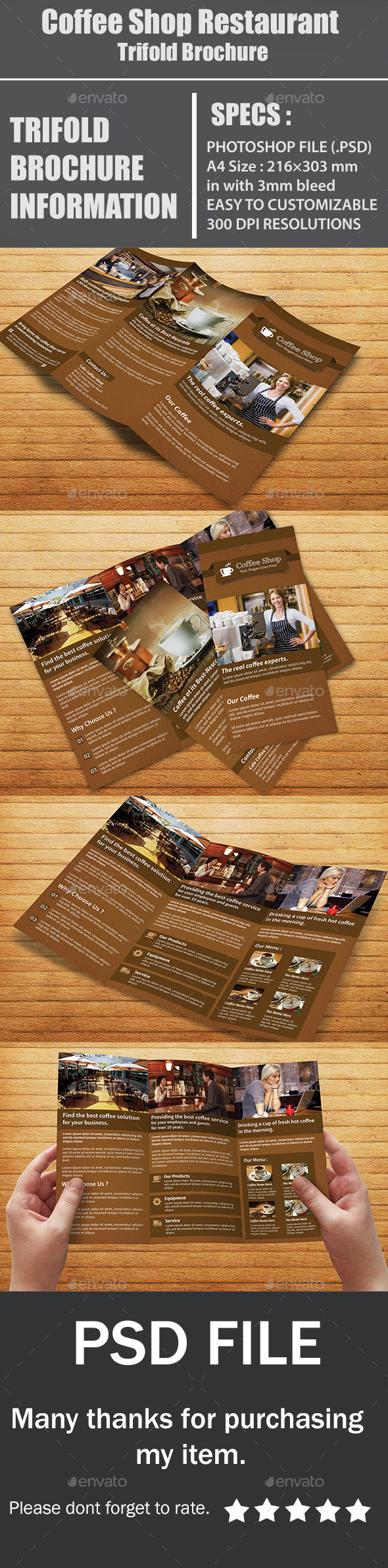 GraphicRiver Coffee Shop Restaurant Trifold Brochure 10699336