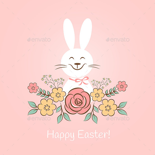 GraphicRiver Happy Easter Bunny With Flowers 10699382