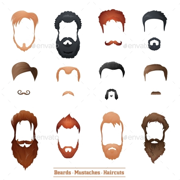 GraphicRiver Beards and Mustaches Hairstyles 10699977