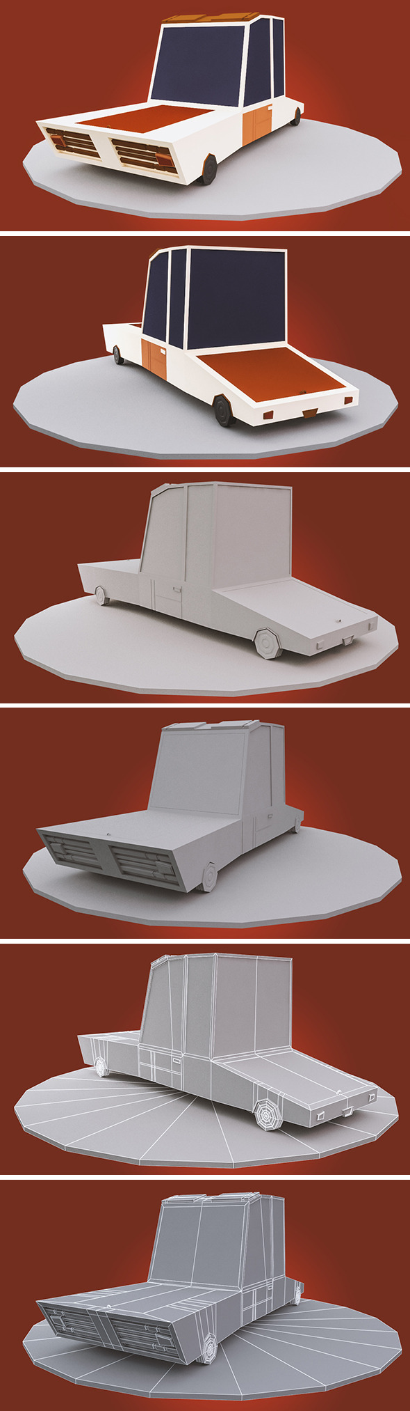 low poly cartoon car - 3DOcean Item for Sale