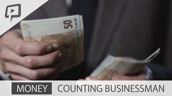 Money Rich Businessman counting Euro Notes