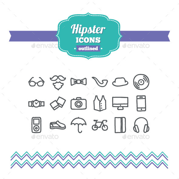 GraphicRiver Hand Drawn Hipster Icons 10700366