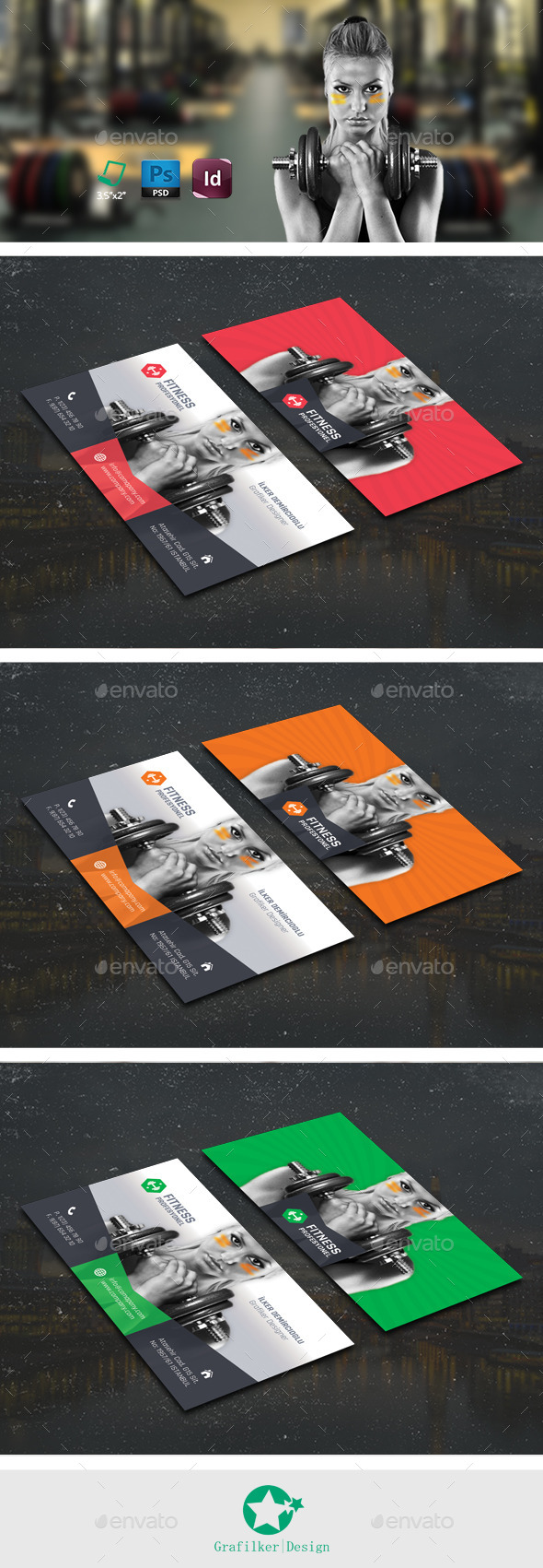 GraphicRiver Fitness Business Card Templates 10700431