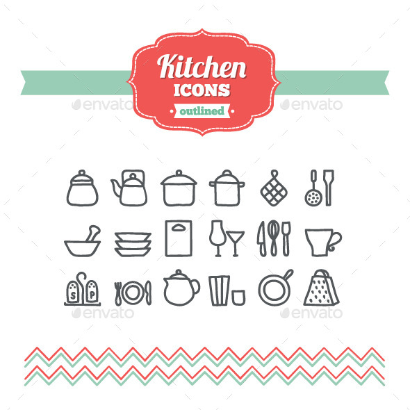 GraphicRiver Hand Drawn Kitchen Icons 10700434