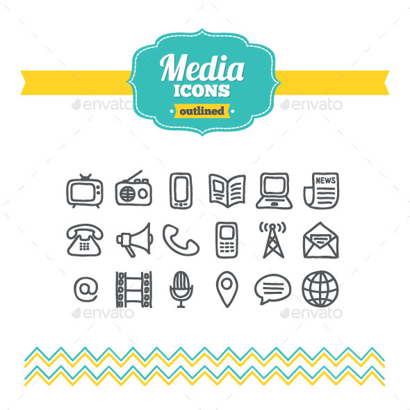 GraphicRiver Hand Drawn Media Icons 10700881