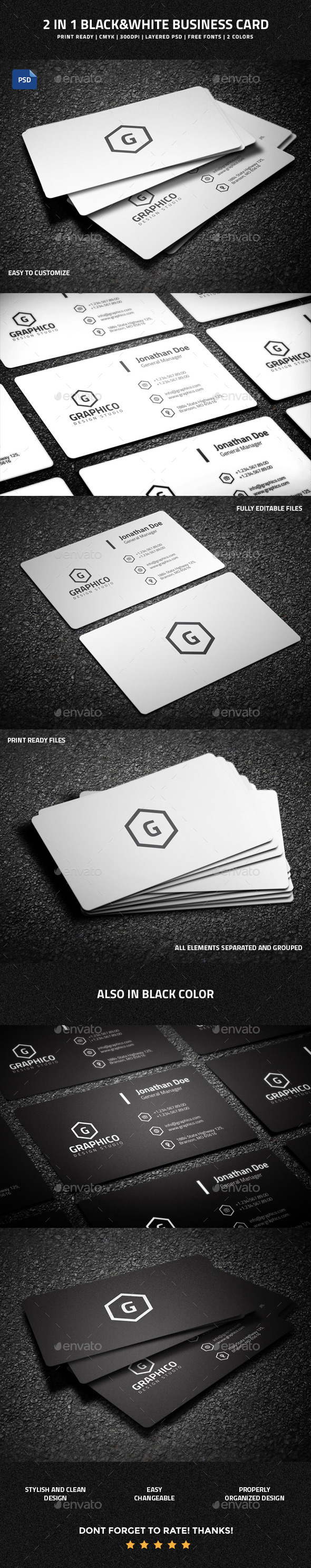 GraphicRiver 2 in 1 Black & White Business Card 53 10701141