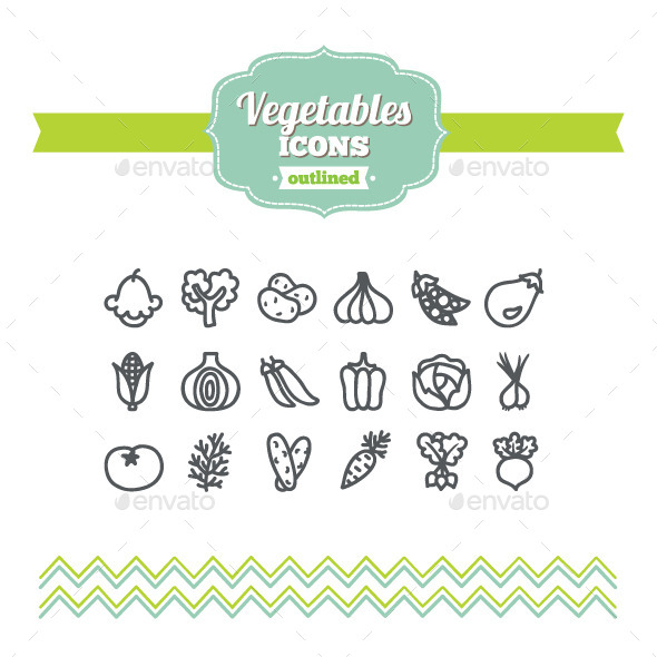 GraphicRiver Hand Drawn Vegetables Icons 10701372