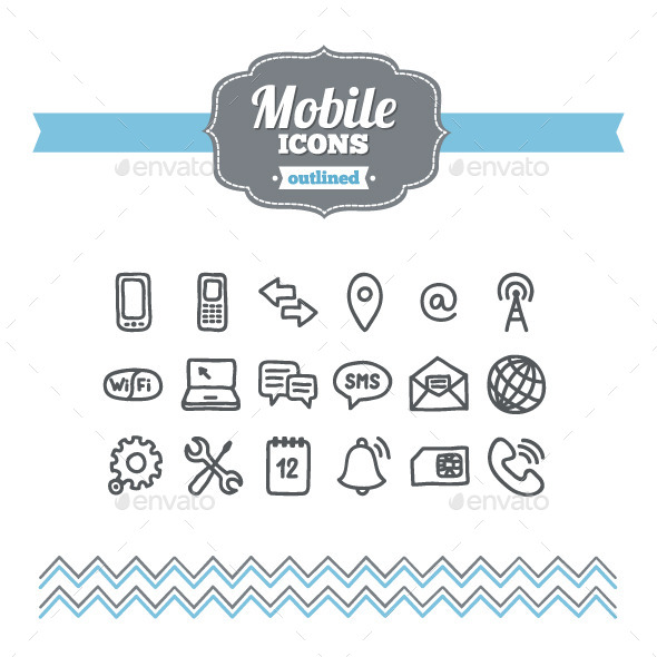 GraphicRiver Hand Drawn Mobile Icons 10701718