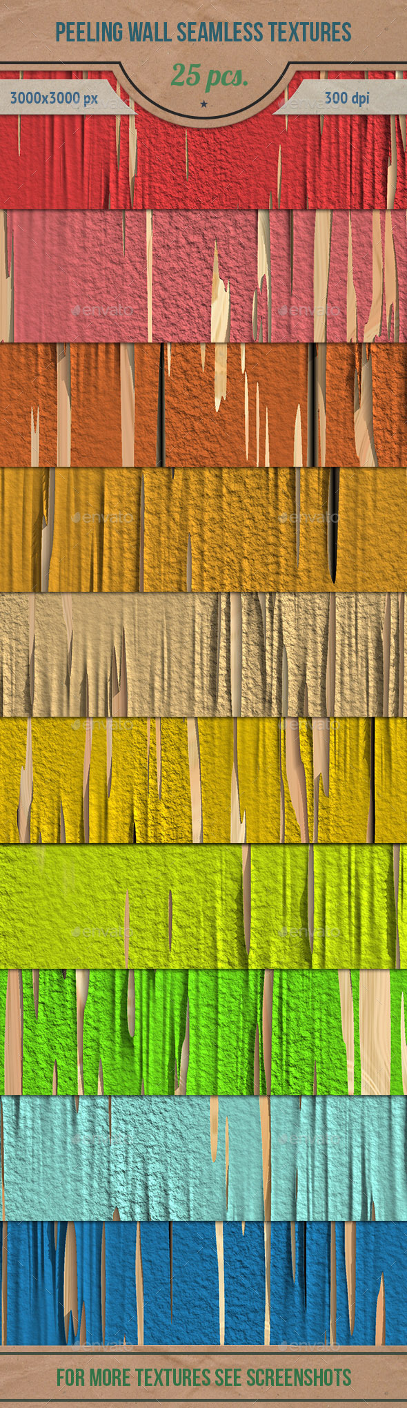 GraphicRiver Peeling Wall Seamless HD Textures Pack 10701815