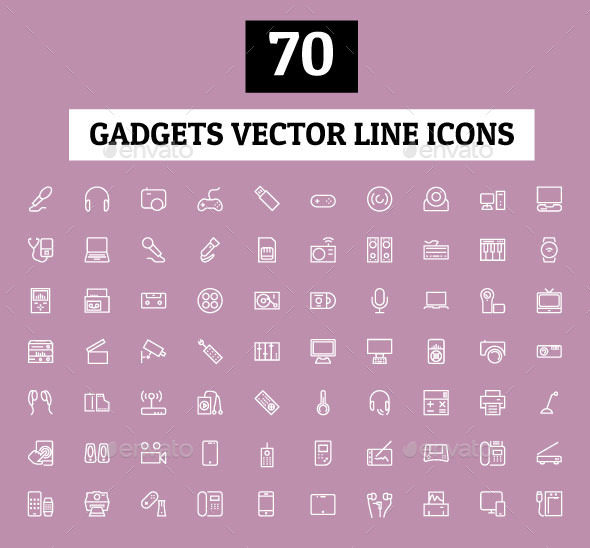 GraphicRiver 70 Gadgets Vector Line Icons 10702308