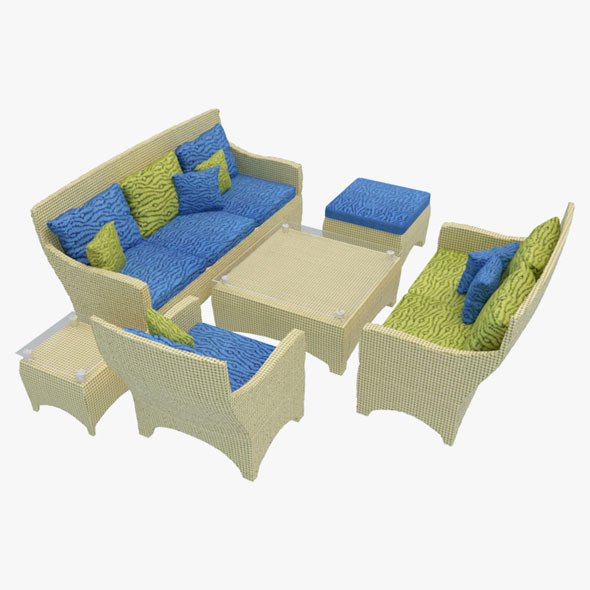 3DOcean Rattan Sofa Set-2 10702362