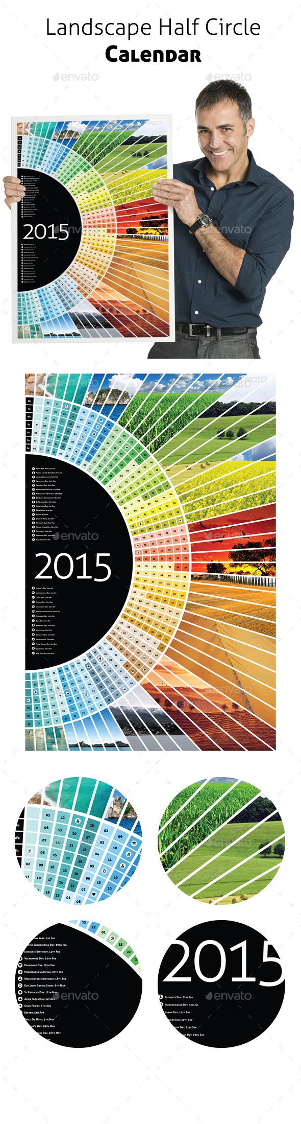 GraphicRiver Landscape Half Circle Calendar 2015 & A1 10643794