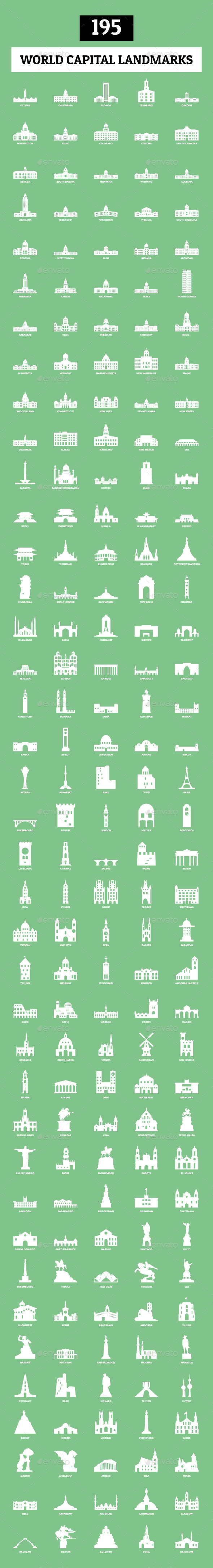 GraphicRiver 195 World Capital Landmarks 10702500