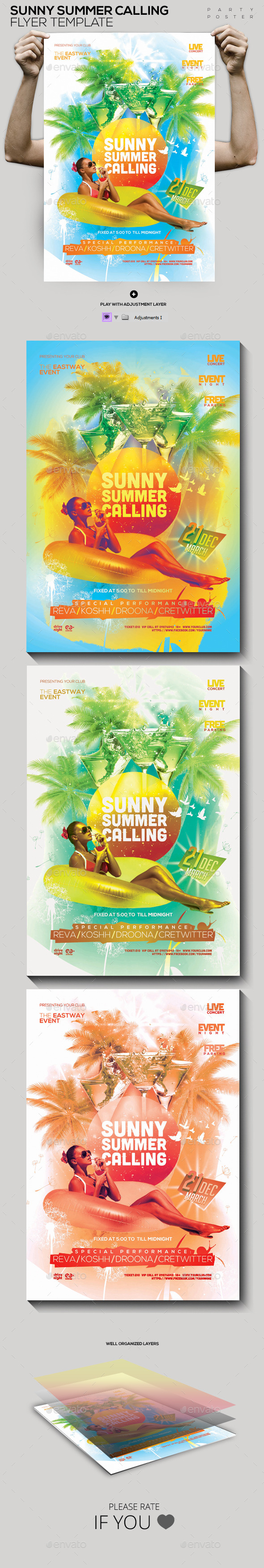 GraphicRiver Sunny Summer Calling Template PSD Flyer Poster 10702756