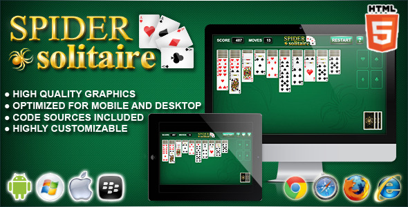 CodeCanyon Spider Solitaire HTML5 Solitaire Game 10702803