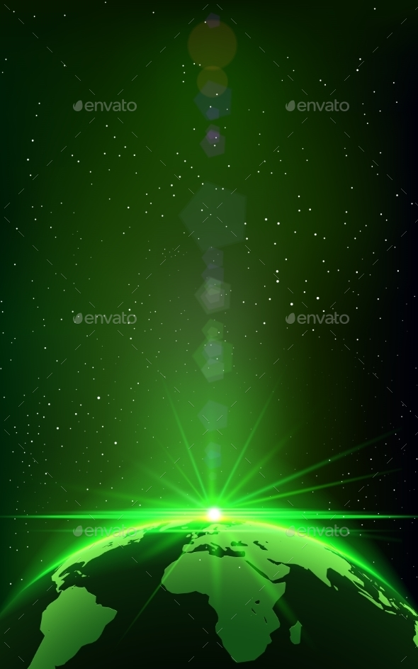 GraphicRiver Rising Sun over the Earth Planet with Space Background 10702861