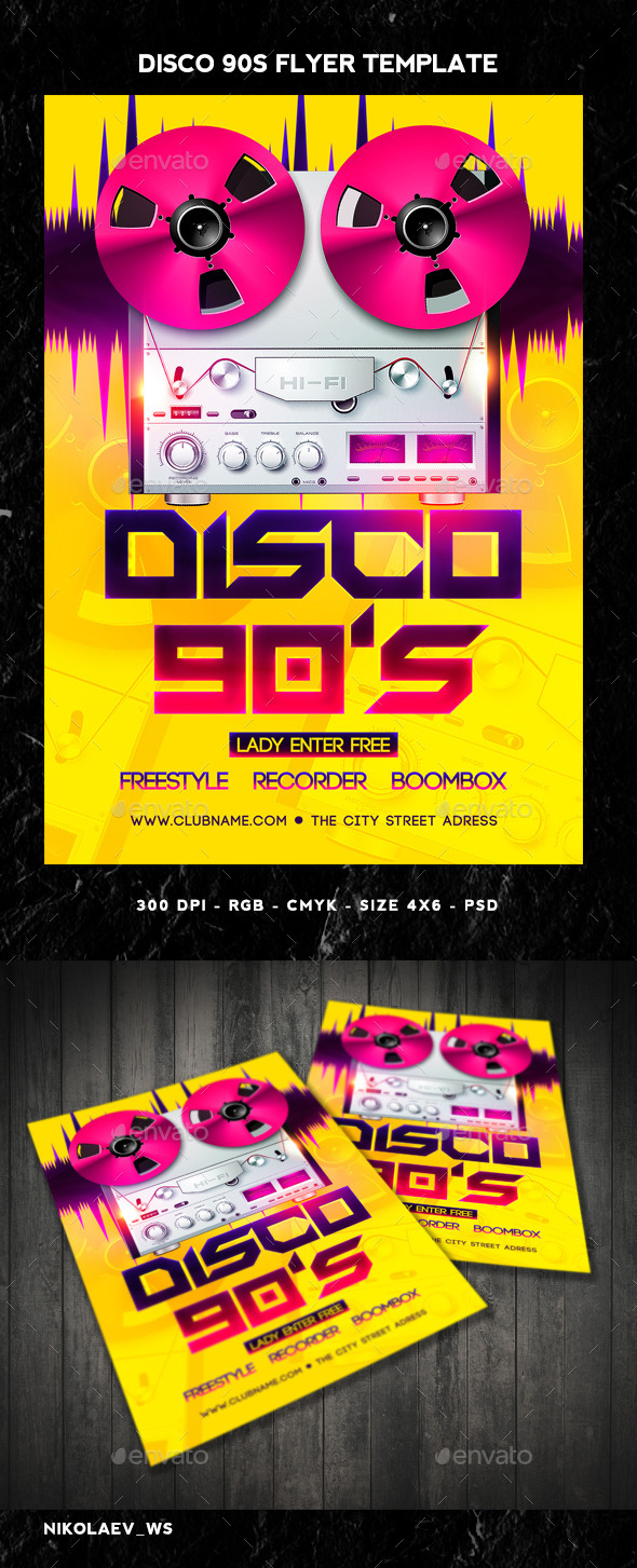 GraphicRiver Disco 90s Flyer 10702868