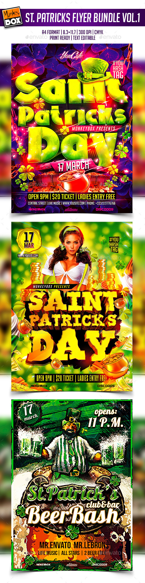 GraphicRiver Saint Patricks Flyer Bundle Vol.1 10641201