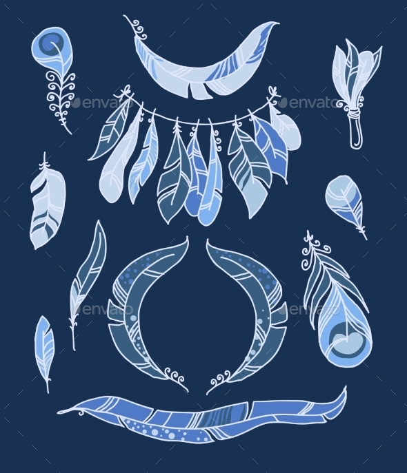 GraphicRiver Vector Set of Sketch Plumage 10703179