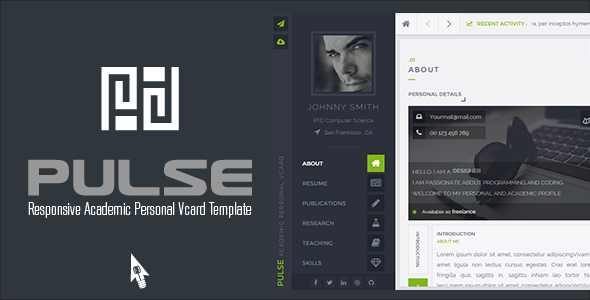 ThemeForest PULSE Academic Personal Vcard Template 10654629