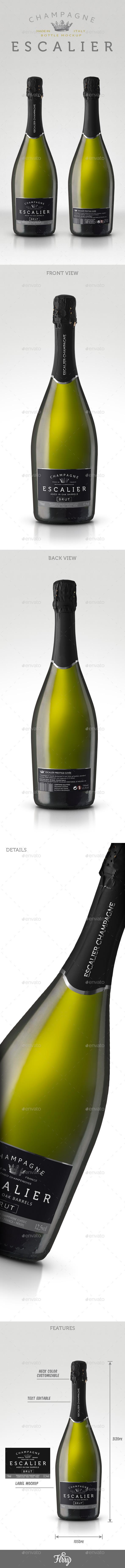 GraphicRiver Champagne Gran Cuvee Bottle Mockup 10705980