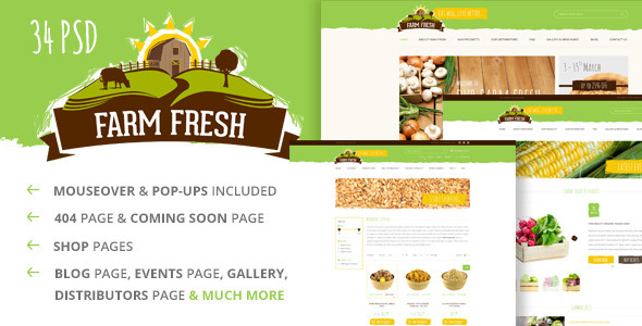 ThemeForest Farm Fresh Organic Products PSD Template 10706292