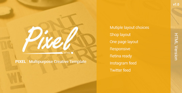 ThemeForest PIXEL Multipurposes Creative Template 10706414