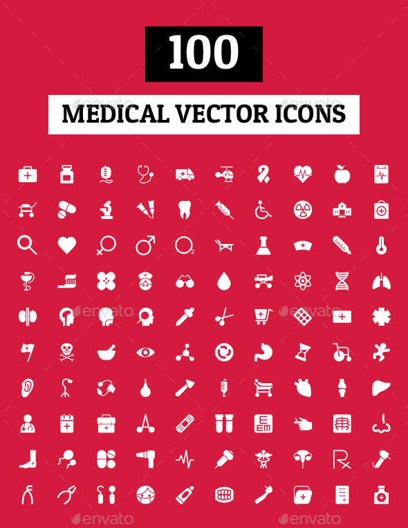 GraphicRiver 100 Medical Vector Icons 10706444